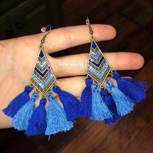 Tribal Pattern Blue Tassel Earrings